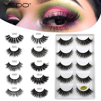 YSDO 5 pairs 3d mink lashes natural false lashes makeup mink eyelashes fluffy lashes long eyelashes dramatic eyelashes cilios