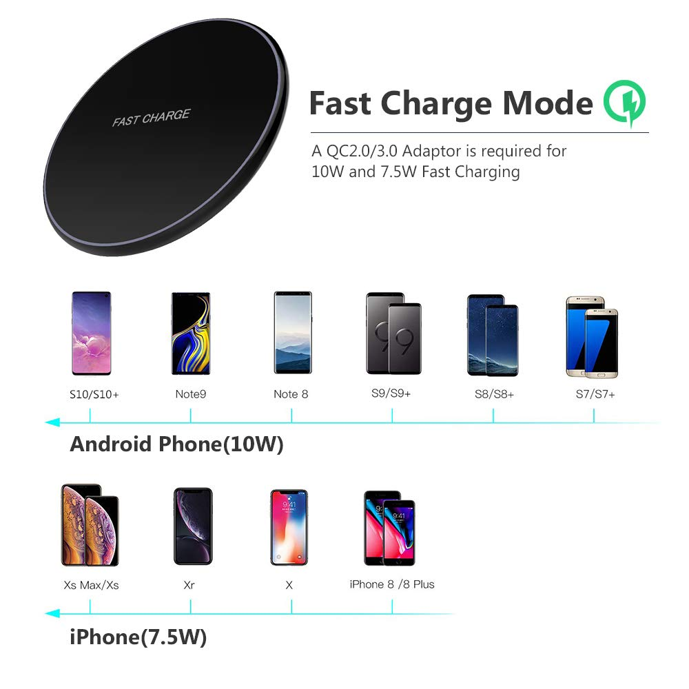 Image 5 - NTONPOWER 10W Fast Wireless Charger For iPhone X 8 XS Max XR Qi Wireless Charger for Samsung S8 S9 Plus USB Phone Charger Pad-in Mobile Phone Chargers from Cellphones & Telecommunications