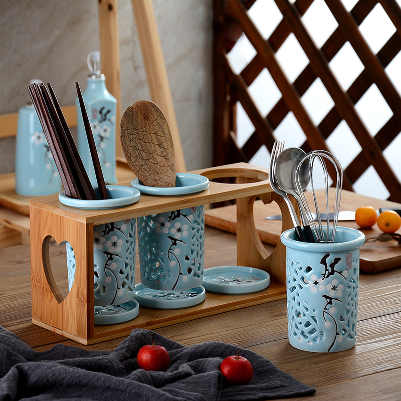 Chinese Style Ceramic Spoon Fork Knife Chopsticks Draining Holder Kitchen Spoon Fork Organizer No Spoon Chopstick