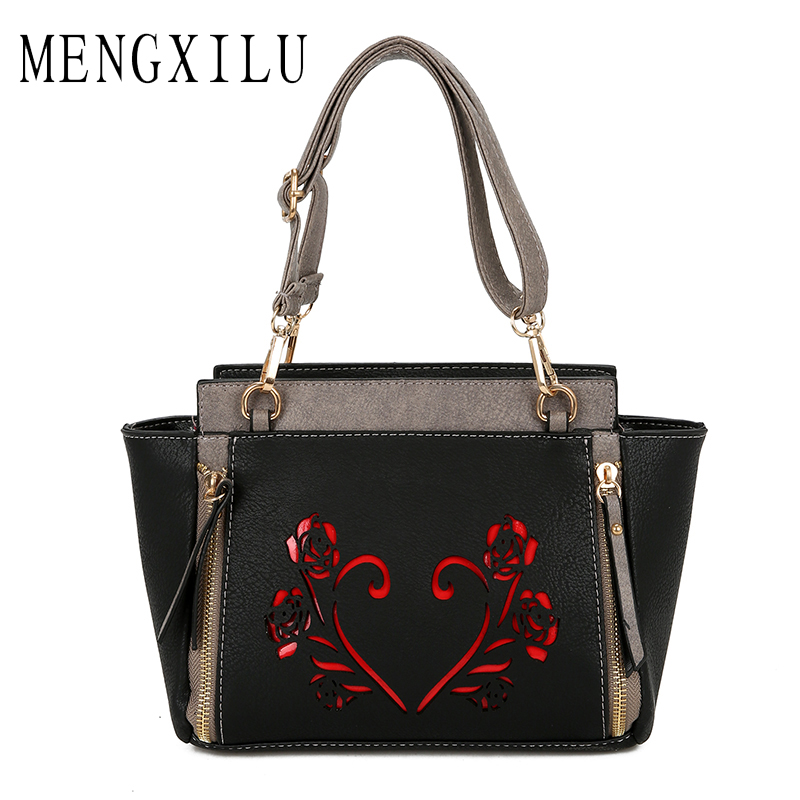 MENGXILU Hollow Out Handbags Women Bags Designer High Quality Shoulder Messenger Bags Tote Lady Crossbody Bags Bolsa Feminina women messenger bags designer handbags high quality 2017 new belt portable handbag retro wild shoulder diagonal package bolsa