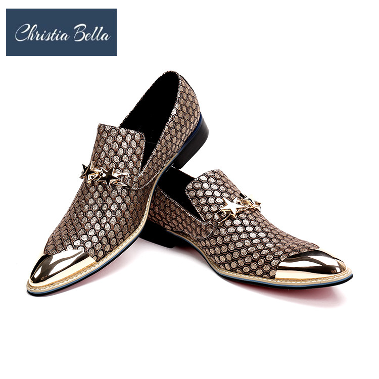 Christia Bella Luxury Gold Men Business Leather Shoes Gentleman Genuine Leather Men Dress Shoes Wedding Loafers Male FlatsChristia Bella Luxury Gold Men Business Leather Shoes Gentleman Genuine Leather Men Dress Shoes Wedding Loafers Male Flats