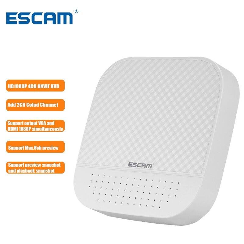ESCAM PVR204 1080 P 4 + 2CH/8 + 2CH ONVIF MINI NVR avec canal Cloud 2CH pour système de caméra IP prise en charge de la sortie VGA et HDMI