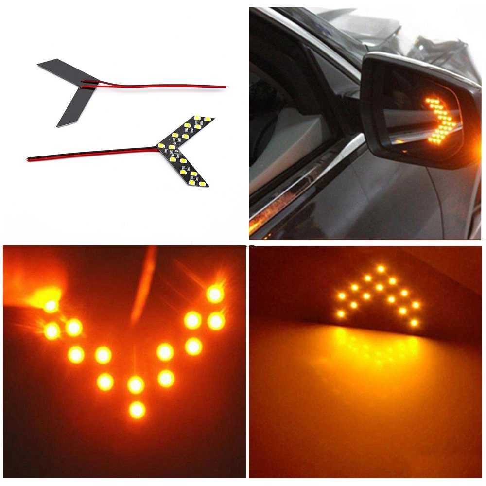 Universal Car Lampada di Segnalazione Lampade A Specchio 2pcs 14 SMD LED Arrow Pannello di Retrovisione Specchio Indicatore di Direzione Auto luce