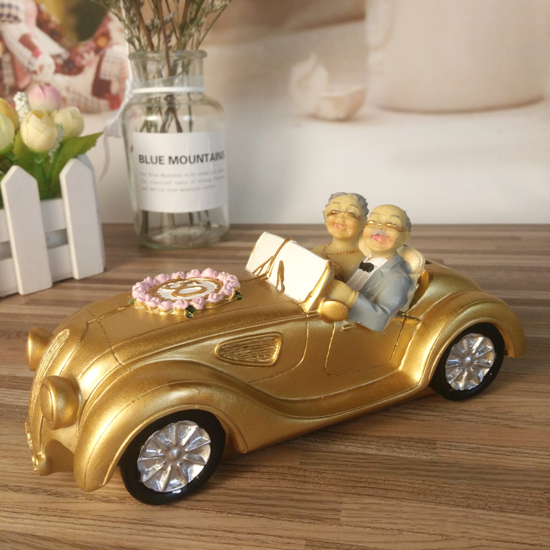 Old Grandma Home Decor Resin Gifts for Mother Golden 50th.anniversary of marriage Souvenir Desktop Decoration
