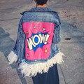 2016 Otoño Chaqueta de Mezclilla de Las Mujeres Reales de Plumas de Color Rosa Nueva Moda Streetwear Desmontable Cartas Denim Chaqueta y Abrigos 1556