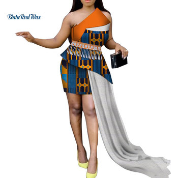 African Dresses for Women Bazin Riche Custom African Clothes Print Lace Tassel Evening Dresses Dashiki African Clothing WY3532