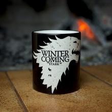 Juego de tronos casa stark tazas tazas taza de café Calor calor sensible transformación de tazas taza fría caliente que cambia de color magia taza