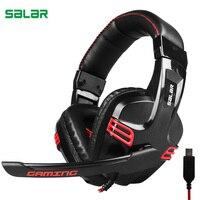 Salar KX236 Over Ear Stereo Gaming Headset Adjustable USB Headband With Mic Headphones For Gamer Computers