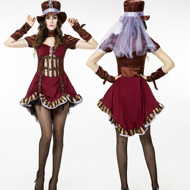 eropa dan amerika permainan seragam circus badut kostum punk girl tema gaun pesta halloween dewasa