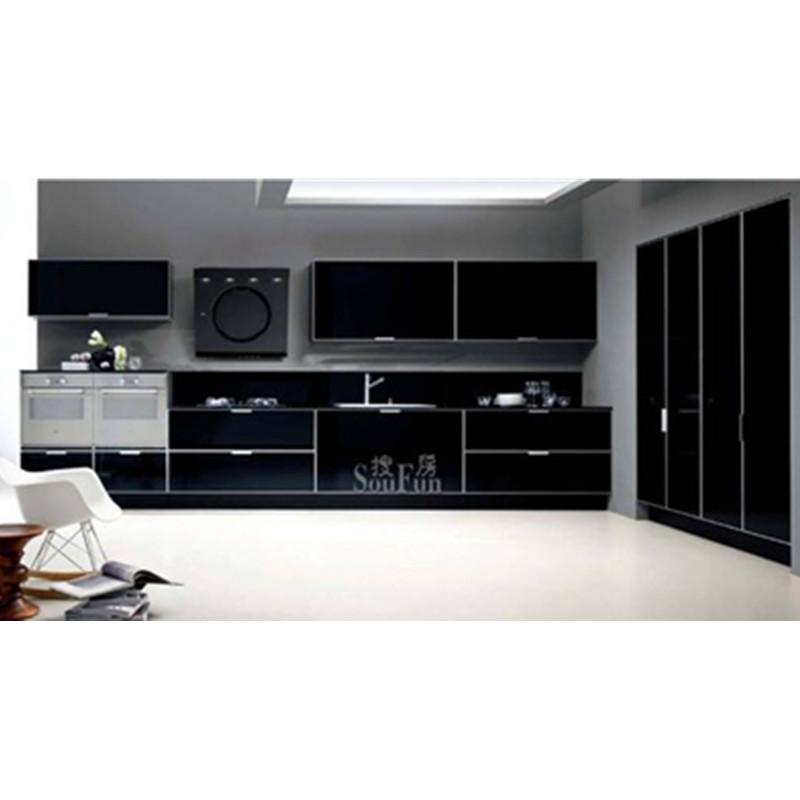 Made In China Modern Black Kitchen Cabinet