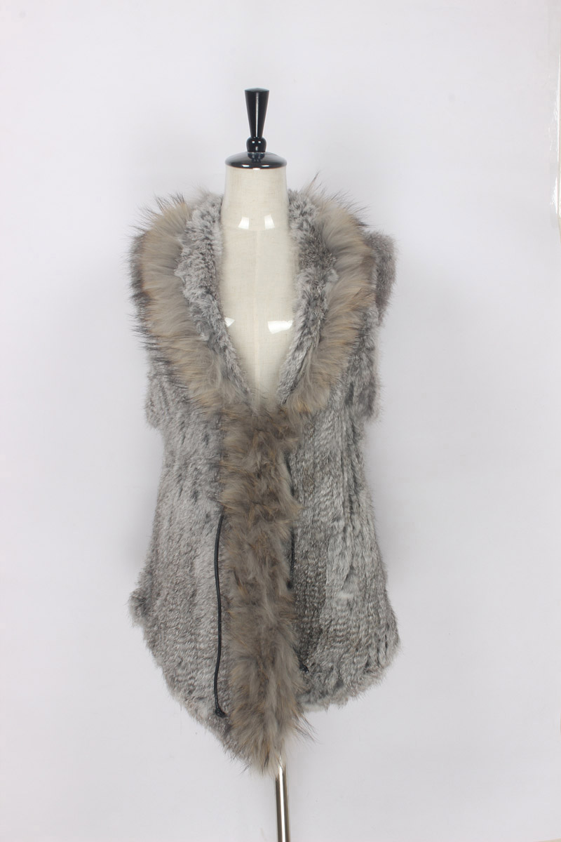 Free shipping womens natural real rabbit fur vest with raccoon fur collar waistcoat/jackets rabbit knitted winter TBFP777