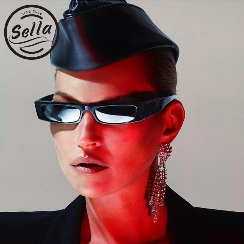 Sella New Fashion Women Men Small Narrow Frame Square Colorful Tint Lens Sunglasses Unique Rectangle Eyewear Glasses
