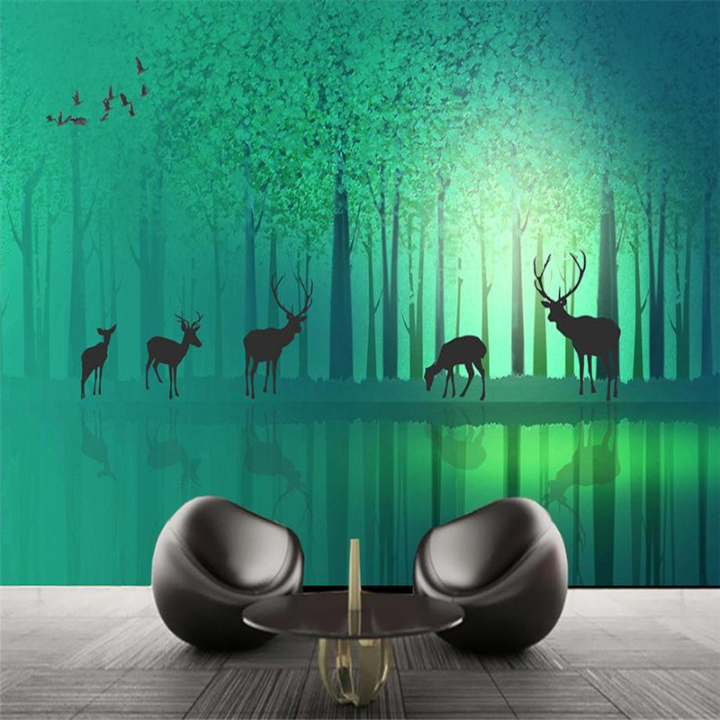 3 D Stereo Photo Wallpaper nature Forest Wallpaper Home Decor Green Wall Papers Murals for Living Room Decor Fantastic Elk Mural pure green mountain art wallpaper mural on the wall for kid s room wallpaper nursery room wall decor free shipping
