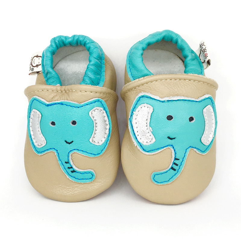 Adela Flower Green Elephant Genuine Leather Baby Shoes Toddler Moccasins Baby Boy Shoes For Baby Girl Soft Sole Antislip Loafer