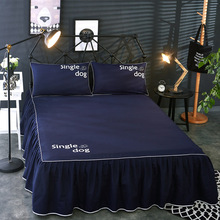 цена на Dog Letter Print Rufflled Bedspread Romantic Lace Bed Skirt Bed Sheet Bedspreads Twin Bed Skirts Queen Cover with 2 Pillowcases