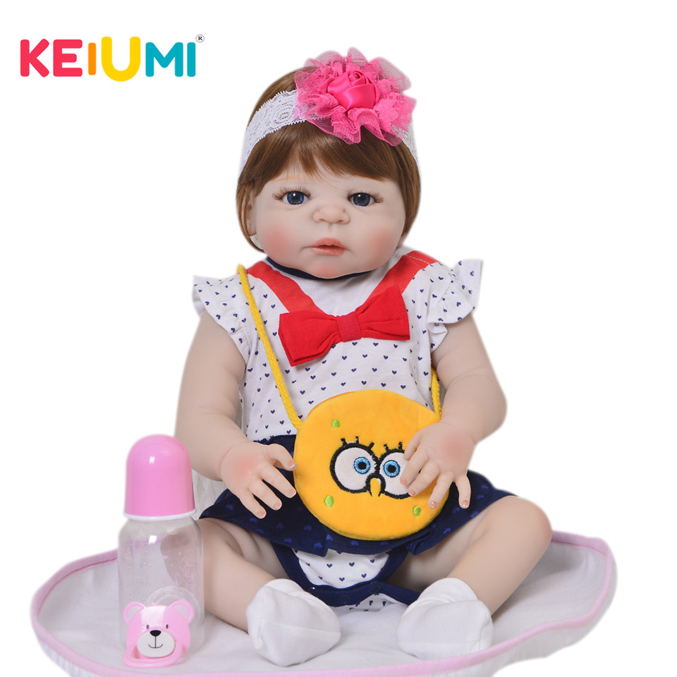 Fashion 57 cm Realistic Reborn Baby Dolls Girl Full Silicone Vinyl Doll Toys Handmade 23'' Girls Playmate Reborn Boneca With Bag-in Dolls from Toys & Hobbies    1