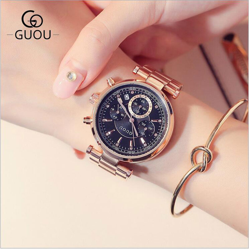 GUOU Top Luxury Watches Women Fashion Steel Bracelet Auto Date Watch Women's Watches Multi-runtioan Ladies Watch Reloj Mujer guou watches women fashion leather auto date women s watch multi runtioan luxury ladies clock saat relogio feminino reloj mujer