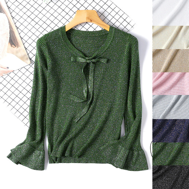 79a293eaec Shiny women wool sweater knitted pullovers bow striped long sleeve flare  basic tops elegent cute loose