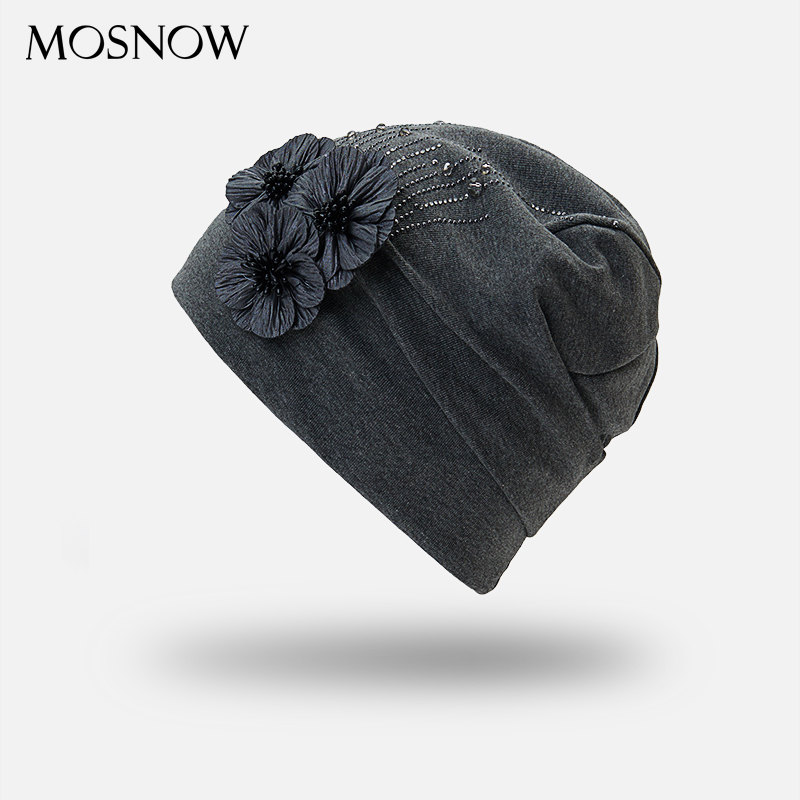 2018 Autumn Female   Beanie   Bonnet With Rhinestone Hats Three Flowers Caps Knitted Cotton For Women Warm   Beanies   Slouchy   Skullies