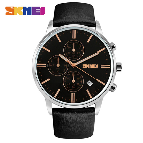 New 2018 Men Watches Luxury Top Brand SKMEI Fashion Men Big Dial Leather Quartz Watch Male Clock Wristwatch Relogio Masculino Lahore