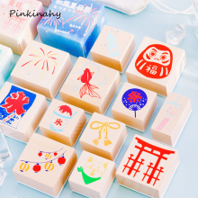 Sello Vintage estilo japonés patrón de vida diaria DIY sellos para álbum de recortes de madera papelería estándar sello