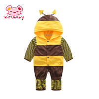 Xirubaby Newborn Baby Clothes Cute Cartoon Bees Style Romper Winter Baby Boy Girl Clothing Jumpsuit Bebes