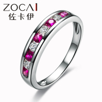 New Arrival ZOCAI 18K white gold Dual gemstones 0.31 Ct certified Genuine Ruby 0.18 Ct certified genuine diamond gemstone ring