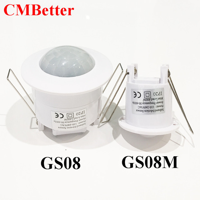 Two Size  ceiling 110V/AC-240V/AC inlay sensor switch PIR infrared motion sensor switch Free Shipping(1pc GS08/GS08M)
