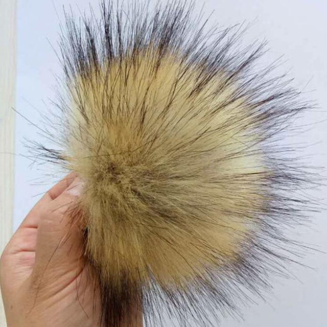 15cm Artificial Polyester Fur Pom pom Handmade DIY Faux Fur Balls For knitted Hats Beanies Fluffy Hair Ball Cap Accessory