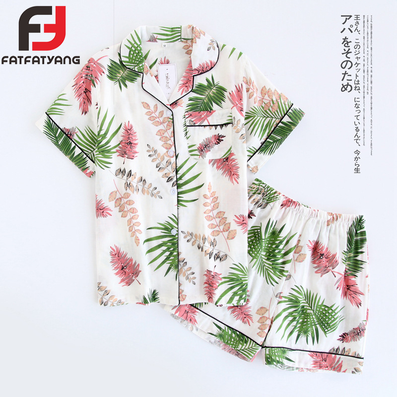 Fashion   Pajama     Sets   Women Flamingo Flowers Leaves Print Cotton Pijama Tops&Shorts 2Pc Short Sleeve Lady's Casual Suits Nightwear