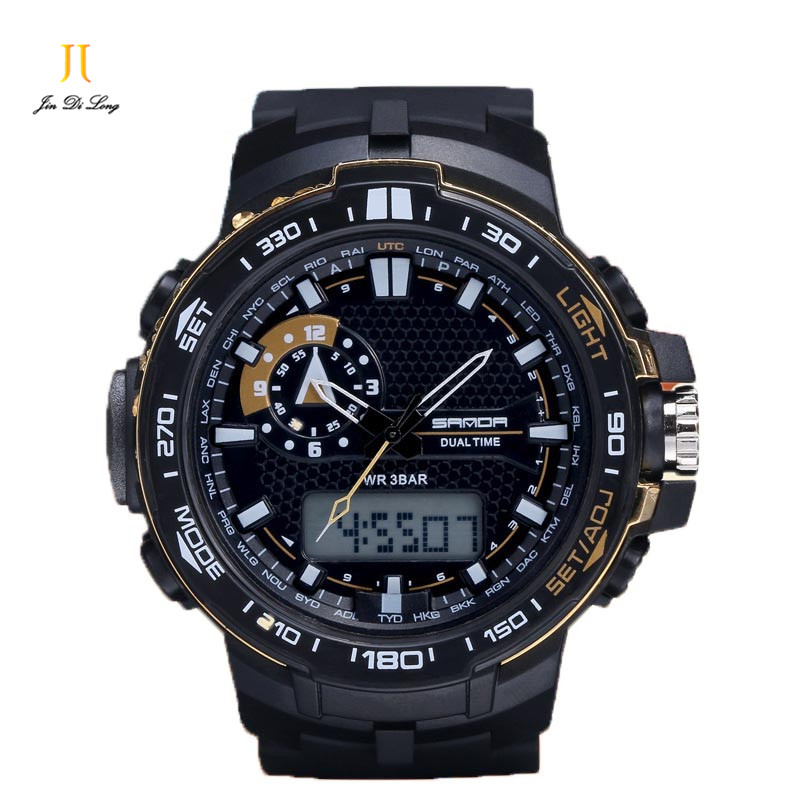 ?2018 Men Sports Electronic Watches Clock New Three-pin Multifunction Waterproof Alarm Shock Clock Wristwatches Shock Watch sports outdoor multifunction electronic watch for men