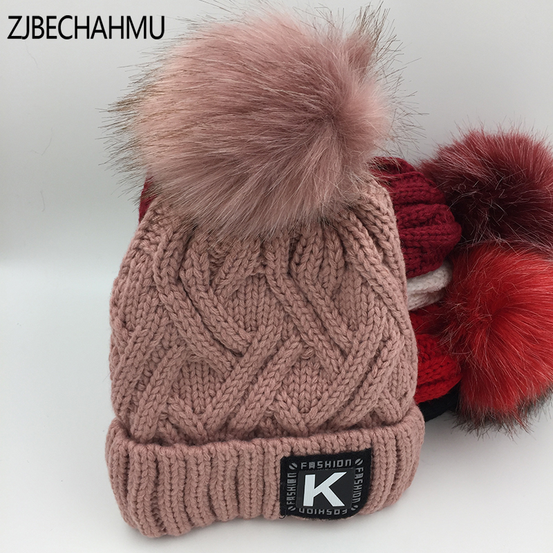 Fashion Girl 'S Skullies Beanies Winter Hats For Womens Knitting Cap Hat Pompoms Ball Warm Brand Casual Gorros Thick Female Cap skullies