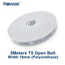 POWGE 5 metrów T5 otwarty pas synchroniczny szerokość 16mm stal poliuretanowa Trapezoid PU T5 16mm otwarte paski rozrządu koło pasowe drukarki 3D