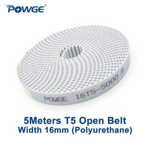 Image 1 - POWGE 5 metrów T5 otwarty pas synchroniczny szerokość 16mm stal poliuretanowa Trapezoid PU T5 16mm otwarte paski rozrządu koło pasowe drukarki 3D