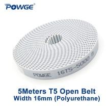 POWGE 5Meters T5 개방형 동기 벨트 폭 16mm 폴리 우레탄 강철 사다리꼴 PU T5 16mm 개방형 타이밍 벨트 풀리 3D 프린터