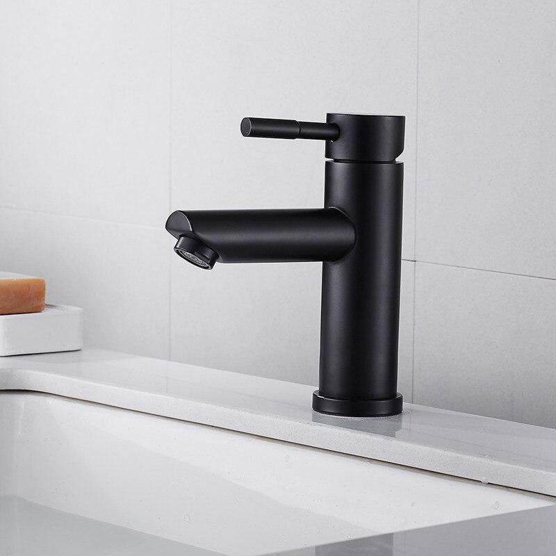 LIUYUE смесители для умывальника, черный/матовый никель, нержавеющая сталь, с одной ручкой, кран для ванной комнаты, смеситель для холодной и го...