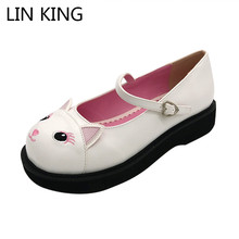 LIN KING Fashion Ankle Strap Women Pumps Sweet Cat Lolita Shoes Low Heel Platform Shoes Casual Round Toe Buckle Princess Shoes  lin king fashion women pumps round toe thick square heel ankle strap platform shoes party bowtie sweet high heel shoes big size