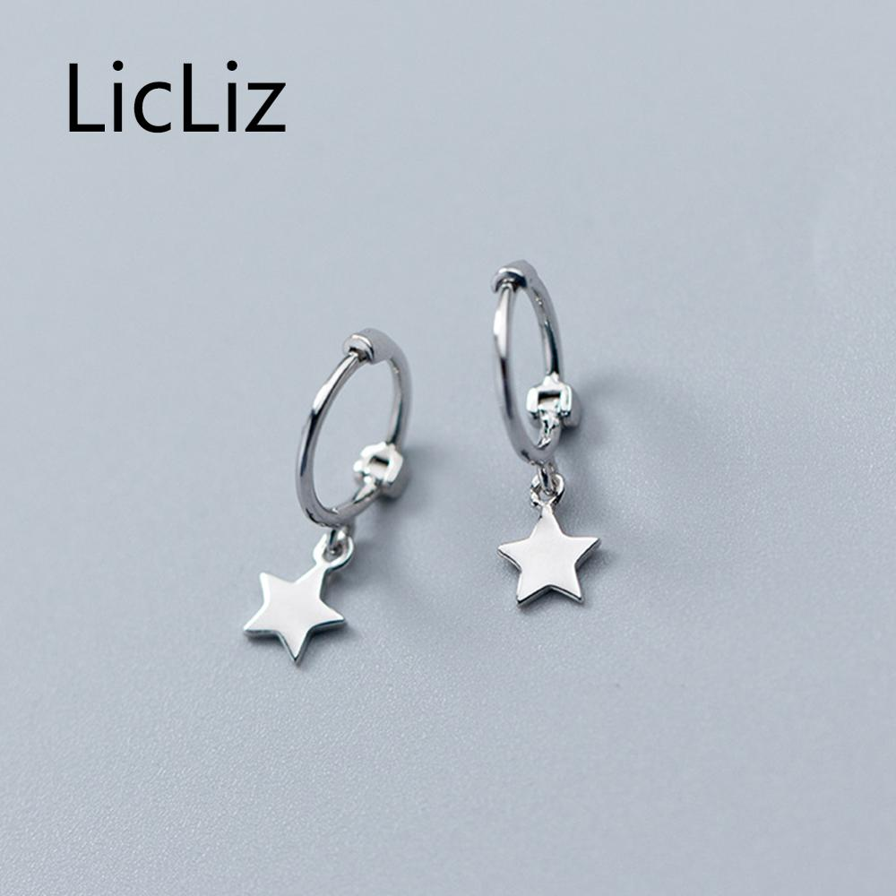 LicLiz 2019 New 925 Sterling Silver Simple Star Hoop Earring for Women with Drops Fashion White Gold Design Jewelry Gift LE0543 in Earrings from Jewelry Accessories