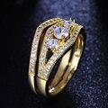 2 Шт. набор Кольцо Белого и Золотого цвета с Четкими Кубического циркония Ювелирные Изделия Элегантный кристалл кольцо для женщин