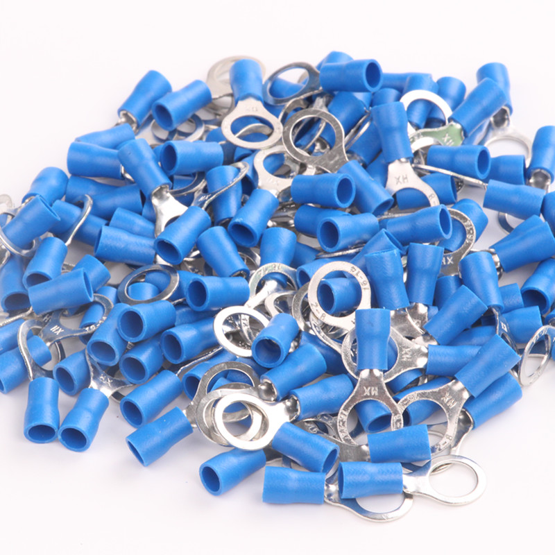 Blue 8x25pcs Butt Connectors Electrical Power Wire Ring 16-14 Ga AWG Gauge Insulated 2-8mm Cold-pressed  Crimp Terminals 500 pcs blue heat shrink 16 14 ga butt wire connectors ring terminal free shiping