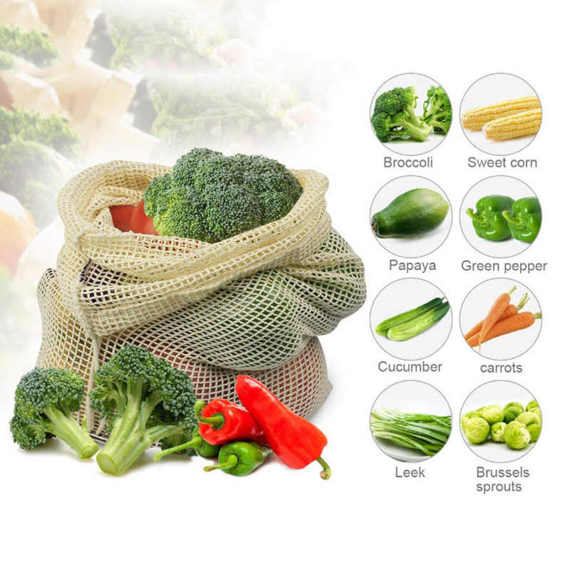 Reusable Produce Storage Bag Eco Friendly Cotton Mesh Bags Fruit Vegetable ecologico Storage Bags Home Kitchen Organizer