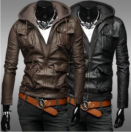 Hot Sale New 2014 Winter Mens Branded Hooded PU leather jacket For ...