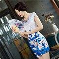 2016 Ladies Sexy Slim Mini Cheongsam Qipao Short Chi-Pao Silk Abendkleider One-piece Women Blue Pink Chinese Evening Vestidos