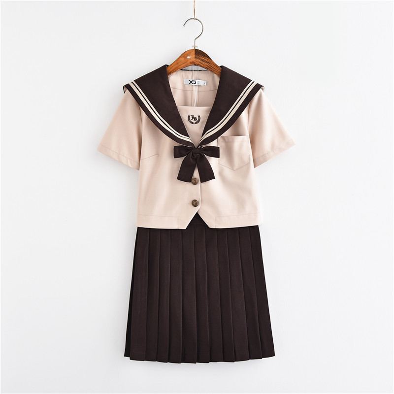 2018 New Japanese School Uniform Girls Novelty Sailor Suits Milk Tea Color Summer Style  Jk Sets High School Uniforms Cosplay
