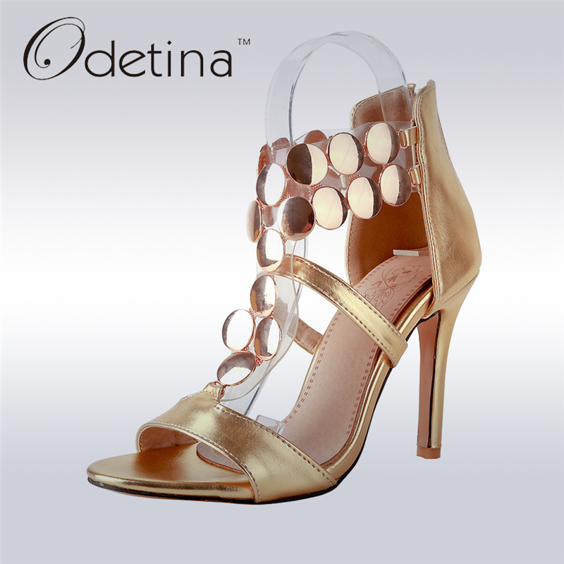 Odetina 2017 Fashion Women Ankle Wrap Sandals Back Zipper Gold Sexy High Heel Sandals Summer Stilettos Thin Heels Big Size 32-46 rousmery 2017 ankle wrap rhinestone high heel sandals woman abnormal jeweled heels gladiator sandals women big size 43