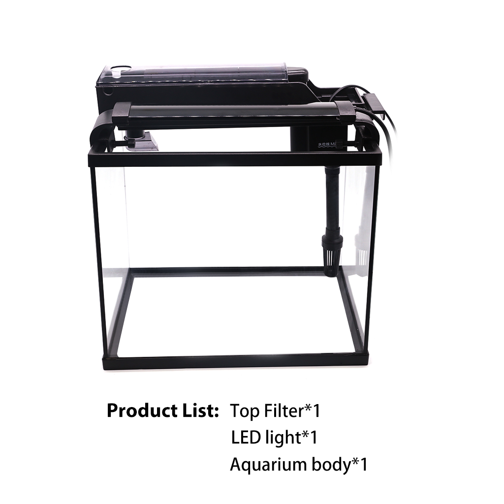 Aquarium Aquarium 3 In 1 Aquarium Kit mit Glas Fisch Tank, filter und LED Licht Display Goldfisch Mini Fisch Aquarium Tank - 2