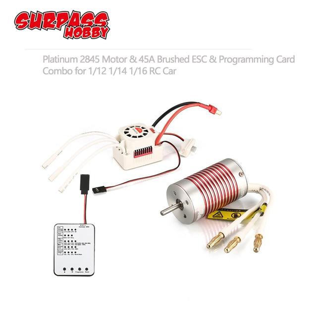 Motor sin escobillas SURPASSHOBBY Platinum, 2845 4370KV 3930KV 3800KV 3100KV con tarjeta de programación ESC 45A para Wltoys