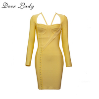 Deer Lady Women Long Sleeve Bandage Dress 2017 High Quality Butier Gorgeous Dresses Mini Yellow Bodycon