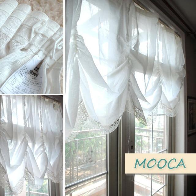 Weiße Spitze Gestickte Vorhang Fertig Küche Vorhang Pull Up Cafe