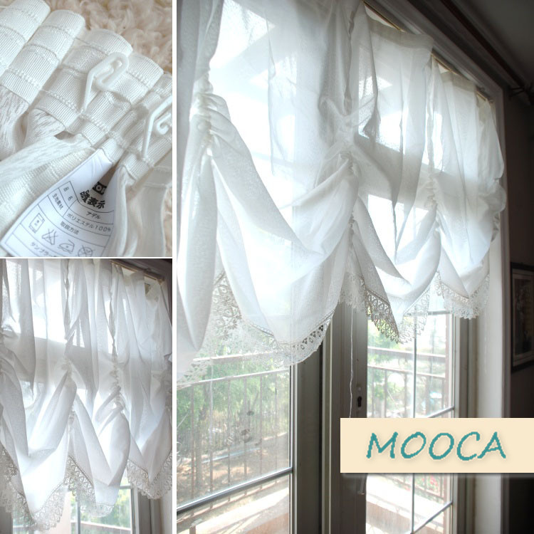 White Lace Embroidered Curtain Finished Kitchen Curtain Pull Up Cafe Curtain  Balloon Curtain